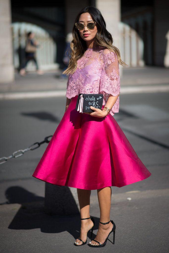 луки с розовой юбкой