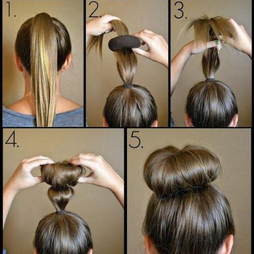 Как сделать прическу бублик на длинные волосы