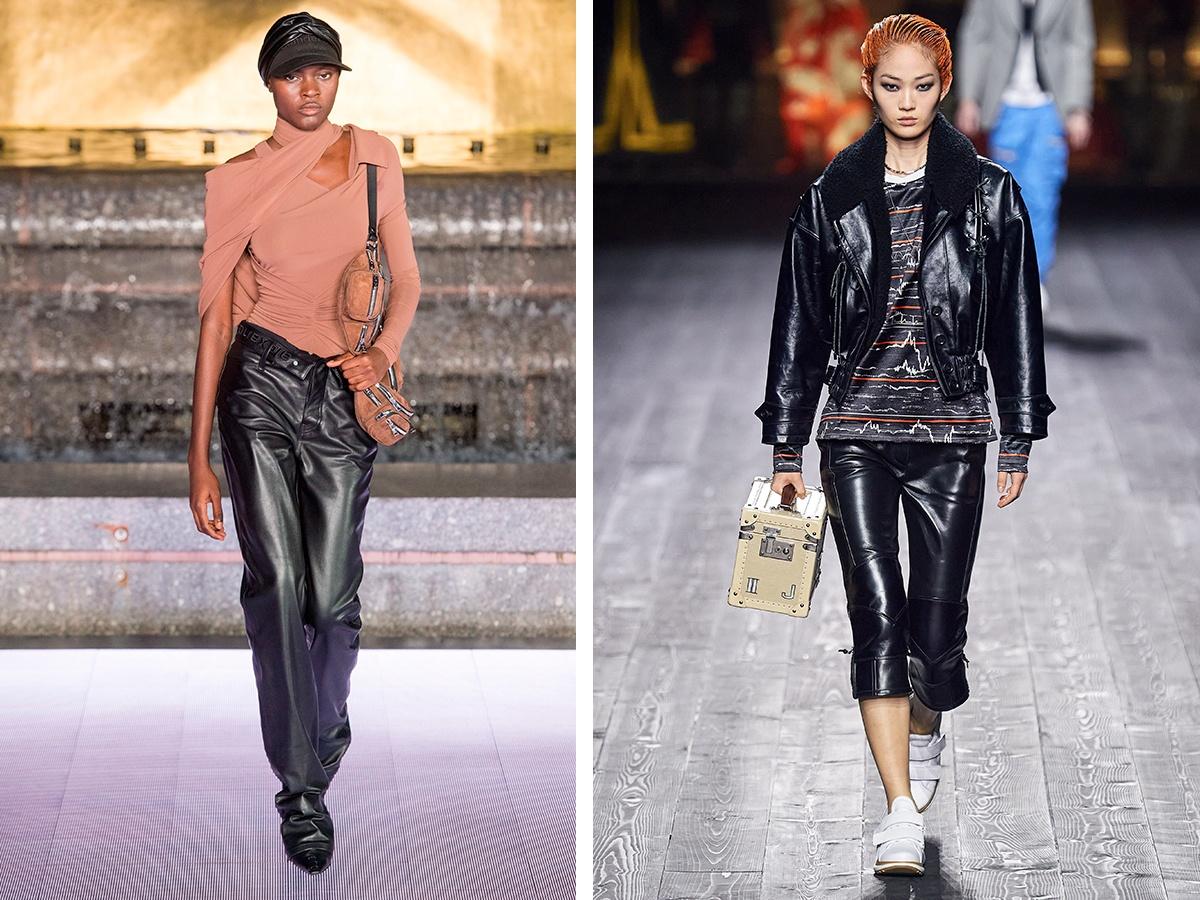 Кожаные брюки Alexander Wang, Louis Vuitton.