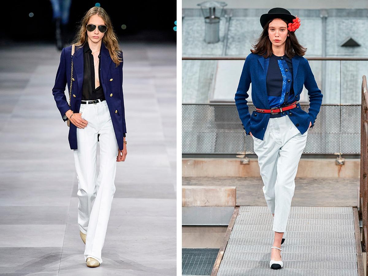 Белые брюки Celine, Chanel.