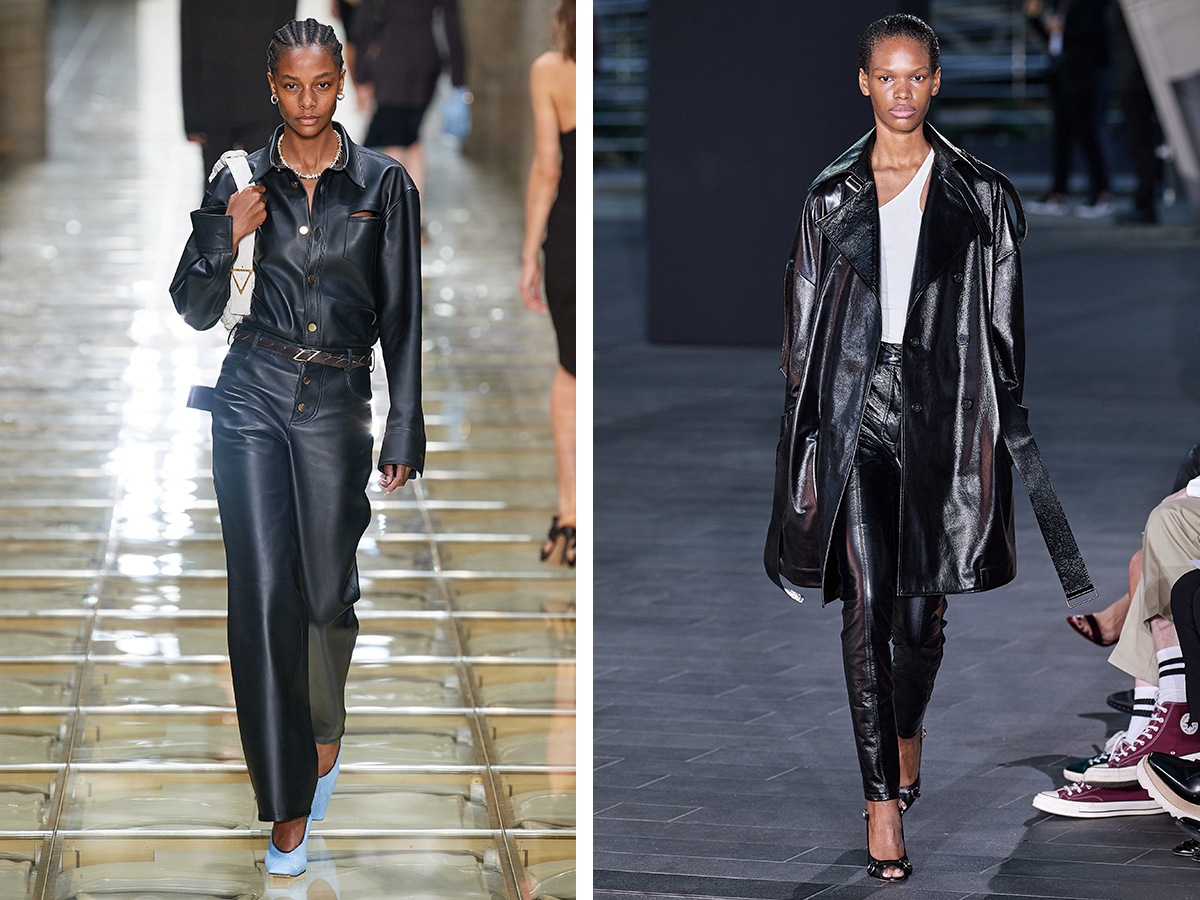 Кожаные брюки Bottega Veneta, David Koma.