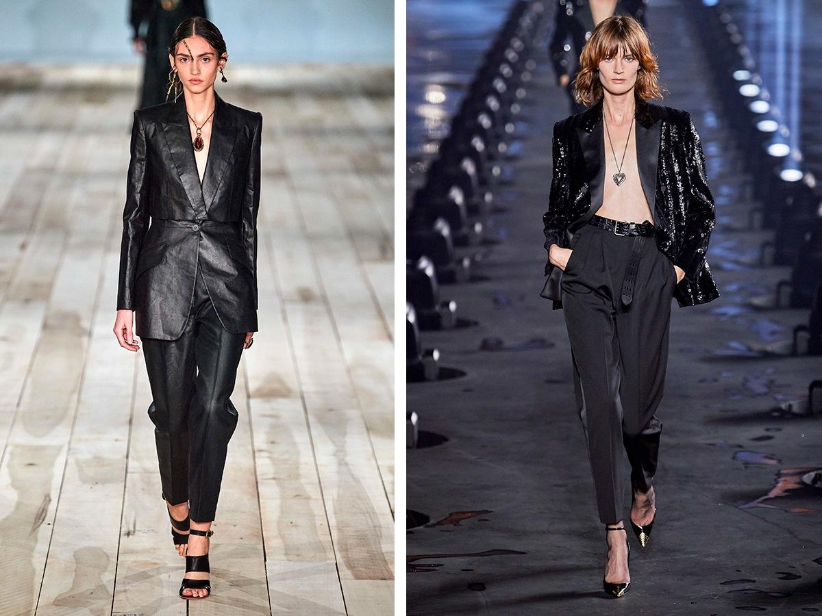 Черные брюки Alexader McQueen, Saint Laurent.
