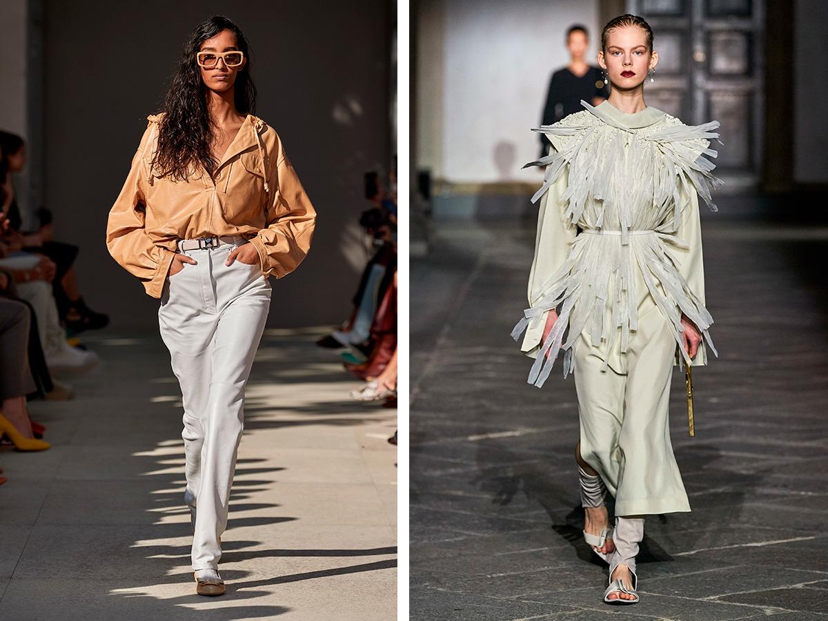 Кожаные брюки Salvatore Ferragamo, Jil Sander.