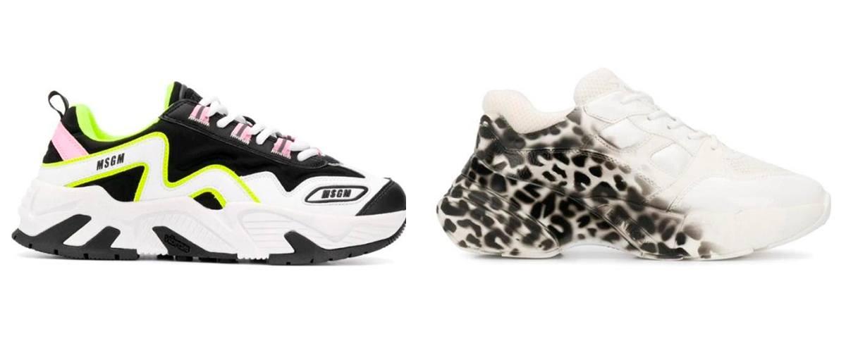Кроссовки в базовых оттенках с яркими вставками и леопардовые Pinko.