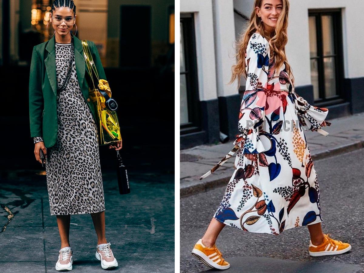 Платье с кроссовками для женщин 2020 [50+ фото]: какие носить, образы и сочетания / Школа Шопинга