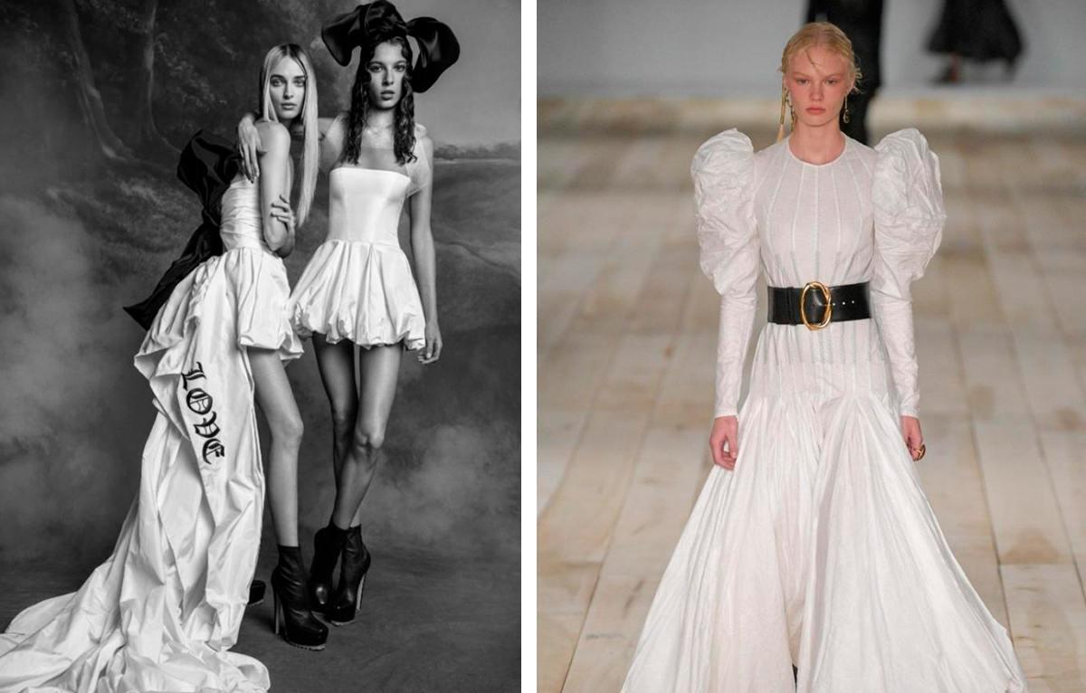 Свадебные платья 2020 — объемные рукава и широкие ремни Alexander McQueen.